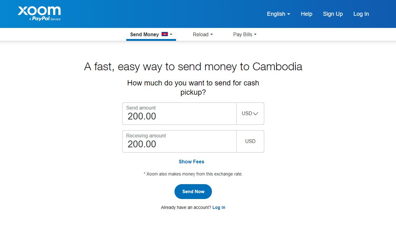 Xoom easy way to send money to Cambodia