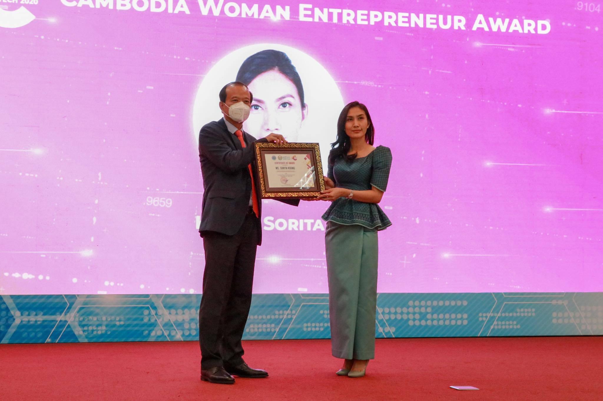 The Cambodian Woman Entrepreneur Award goes to Mrs. Kong Sorita